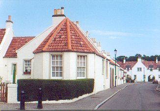 Restored miner's cottages of Plantation Row, in Coaltown of Wemyss