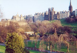 Princes Street Gardens and the Old Town.