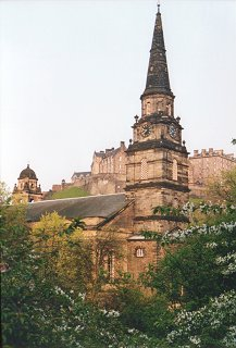 St. Cuthbert's Church, with the castle behind