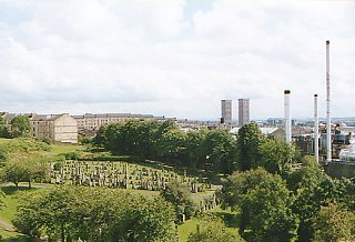 Looking south from the Necropolis and to the Tennent Caledonian Brewery.