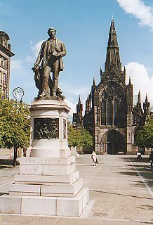 Statue of David Livingston beside Glasgow Cathedral
