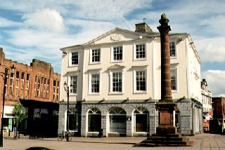 Trades Hall (1804) and the Queensberry Monument, Dumfries