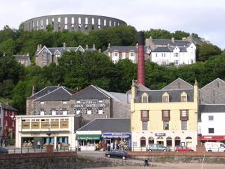Oban Distillery below McCaig's Tower