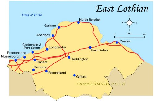 East Lothian Map