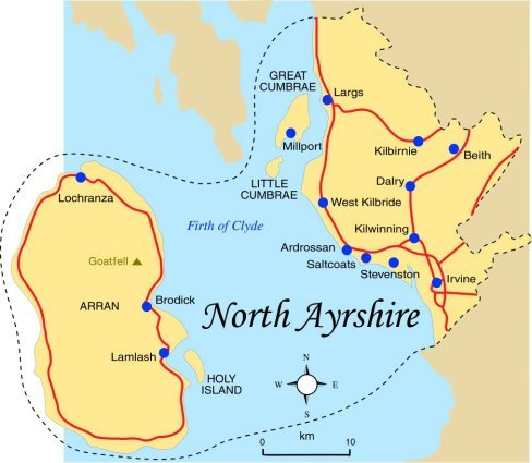Map Of Ayrshire North Ayrshire Map