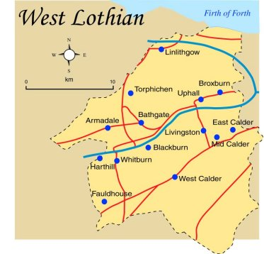 West Lothian Map